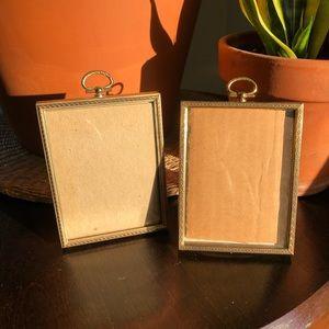 VINTAGE 1970's Gold Set of 2 Frames Hanging Ornate